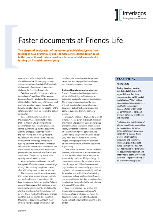 Friends Life Pensions case study